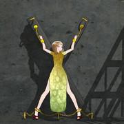 X型の枷に拘束されるチャイナっ娘