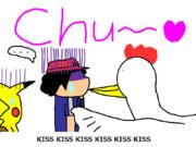 チキンにキスされるサトシを見るピカチュウ