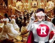 仮面舞踏会に参加する楽天カードマン