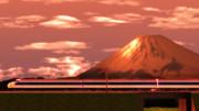 赤富士と新幹線