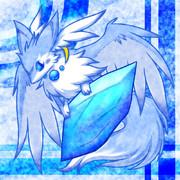 フリーアイコン:水晶と小獣竜(青)