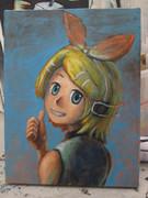 鏡音リンの油絵(未完成)