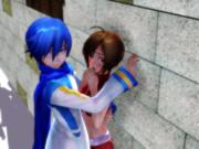 KAITOにMEIKOを壁ドンさせてみた