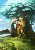 大樹を護るドラゴン