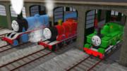 ロンドンの駅の事で言い争う機関車たち