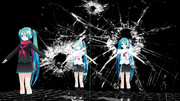 【MMDアクセサリ配布】割れガラス J3 (白・黒・赤・青の4色)