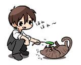 青さんちの猫さんと戯れる赤さん