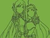 【minecraft】アスナ&ユウキ【線画ドット絵】