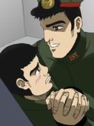 嶋本を押し倒す小早川大尉