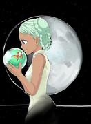 ラライヤと月とちゅちゅみー。