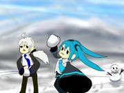 しゅしゅミク達と雪合戦