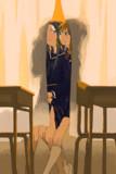 夕焼け×教室×カーテン×百合