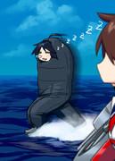 (海の上を)走る寝袋