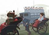 ride in a ricksha