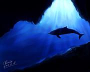 海底とイルカ