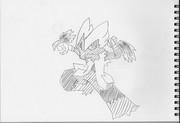 2B鉛筆でメガバシャーモ、描いてみた