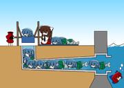 わかさぎ姫、排水管に詰まる