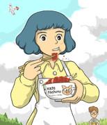 ソースカツ丼を食べる里見菜穂子さん