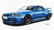 色鉛筆画「SKYLINE GT-R BNR34」