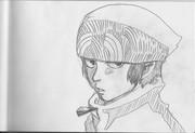 2B鉛筆で、男主人公、描いてみた