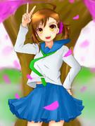 桜舞う入学式