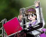 八橋ちゃん、初めてのレーザーハープ