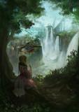 滝をのぞむ場所
