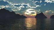 【MMDステージ配布】夕暮れの海 W1【スカイドーム】