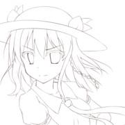 短髪天子(線画)