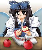 リンゴをむく妖精のいる風景