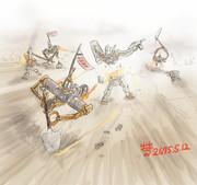 ジムを襲撃する陸戦型オッゴ