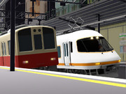 赤銅車と近鉄特急