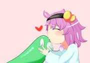 ペットの亀にキスするさとり様