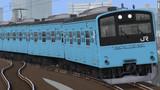 赤い路線の青い省エネ電車。