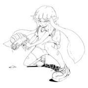 スプラトゥーンのイカちゃん(線画)