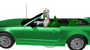 自分色のオープンカーに乗って一人ではしゃぐ東風谷早苗