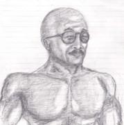 [父の日](戦時大日本帝国の)お父さん 鉛筆画 肉体も