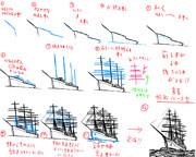 簡単。チョコ菓子 アルフ○ートに書いてあるような帆船の書き方