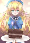 提督が無理して作ったボロボロケーキでお祝い