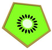 キウイの五角形コースター