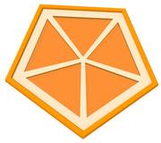 オレンジの五角形コースター