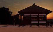 夕焼けとお寺