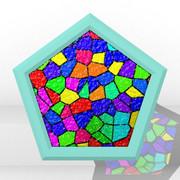 ステンドグラスの五角形コースター
