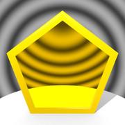 ゴールド色の五角形コースター