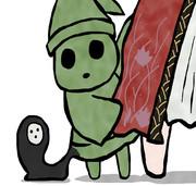 緑の小人と黒の異形