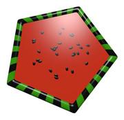 スイカの五角形コースター