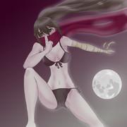 月明かりに照らされる黒ビキニマコ
