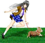 制服で犬のお散歩