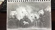 エナジードリンクmonsterのポスターからマンウィズの皆さんを描いてみた。