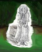 夏だから白いワンピースに黒髪の少女描いた